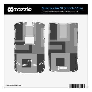 Cuadrados grises retros calcomanías para motorola RAZR
