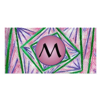 Cuadrados hipnóticos verdes con el monograma de tarjetas con fotos personalizadas