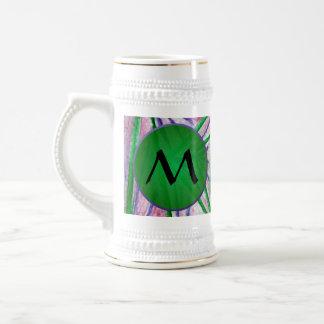 Cuadrados hipnóticos verdes con el monograma verde jarra de cerveza