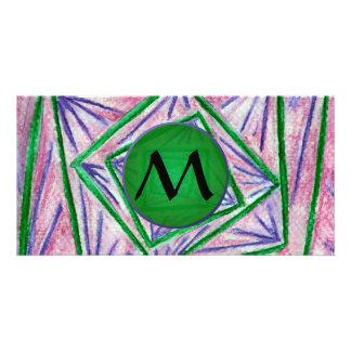 Cuadrados hipnóticos verdes con el monograma verde tarjeta fotográfica personalizada