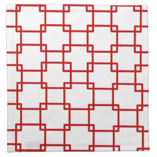 Cuadrados ligados en rojo servilleta imprimida