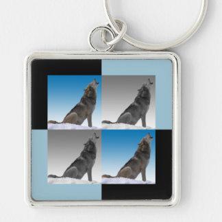 Cuadrados modernos del arte pop del lobo del grito llavero cuadrado plateado