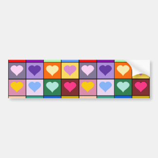 Cuadrados multicolores del corazón pegatina de parachoque