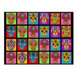 Cuadrados multicolores del cráneo del azúcar tarjeta postal