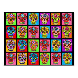 Cuadrados multicolores del cráneo del azúcar postal