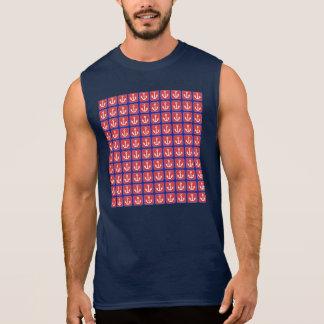Cuadrados náuticos rojos del ancla camiseta sin mangas