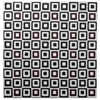 Cuadrados Negro-n-Blancos Servilletas Imprimidas