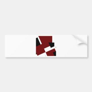 Cuadrados negros, blancos y rojos etiqueta de parachoque