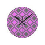 cuadrados o diamantes grises rosados reloj