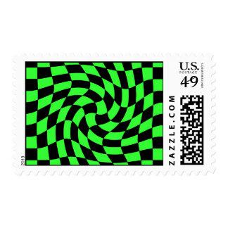 Cuadrados ondulados punkyes lindos verde y negro sello