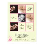 Cuadrados preciosos en la invitación rosada del invitación 12,7 x 17,8 cm