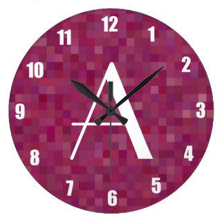 Cuadrados púrpuras del mosaico del ciruelo del mon relojes de pared