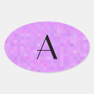 Cuadrados púrpuras en colores pastel del mosaico calcomanía óval