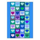 Cuadrados púrpuras y azules del corazón felicitación