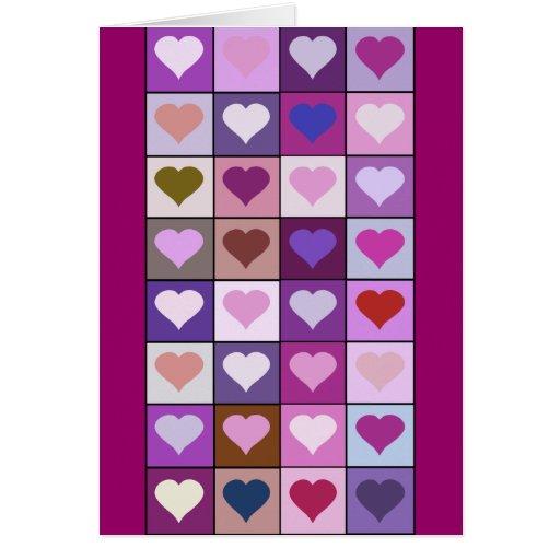 Cuadrados púrpuras y rosados del corazón felicitación