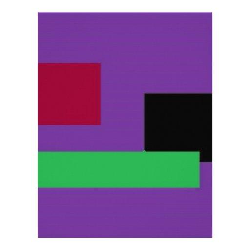 Cuadrados púrpuras y verdes plantilla de membrete
