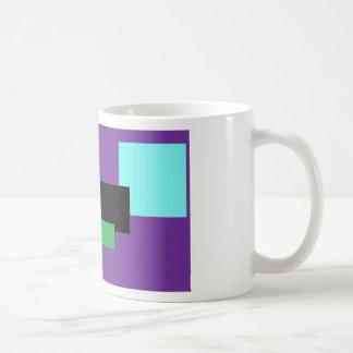 Cuadrados púrpuras y verdes taza
