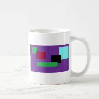 Cuadrados púrpuras y verdes taza clásica