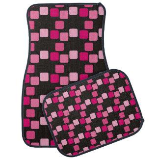 Cuadrados redondeados rosa en las alfombrillas de alfombrilla de auto