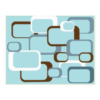cuadrados retros azules claros postal