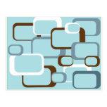 cuadrados retros azules claros tarjetas postales