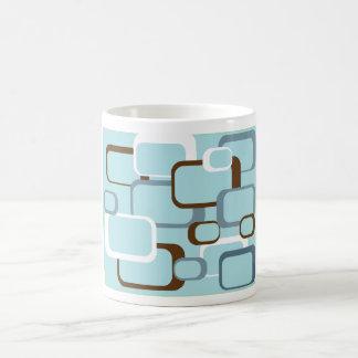 cuadrados retros azules claros taza básica blanca