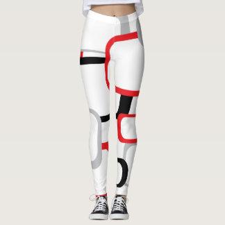 Cuadrados retros del rojo, negros y grises leggings