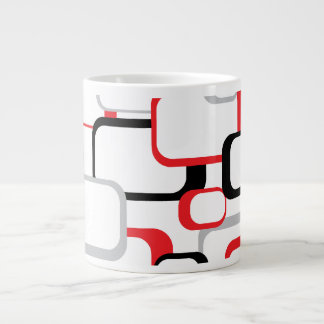 Cuadrados retros del rojo, negros y grises taza grande