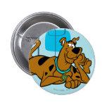 Cuadrados retros Scooby-Doo que se acuesta Pin Redondo De 2 Pulgadas