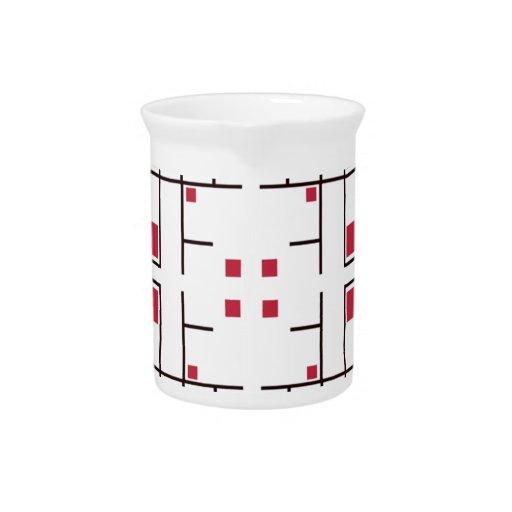 Cuadrados rojos atrapados jarras para bebida