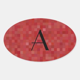 Cuadrados rojos del mosaico del monograma colcomanias oval