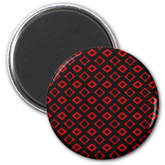 Cuadrados rojos imán redondo 5 cm
