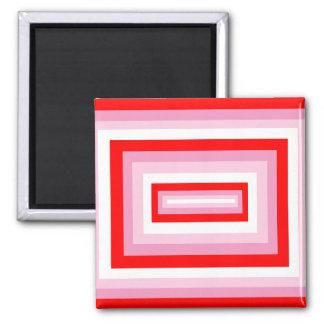 Cuadrados rojos/rosados imán cuadrado