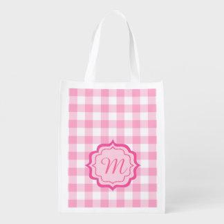 cuadrados rosados, monograma bolsa para la compra