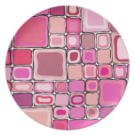 Cuadrados rosados plato