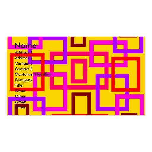 Cuadrados rosados y violetas retros en amarillo tarjetas de visita