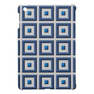 Cuadrados sólidos azules en la caja gris del iPad