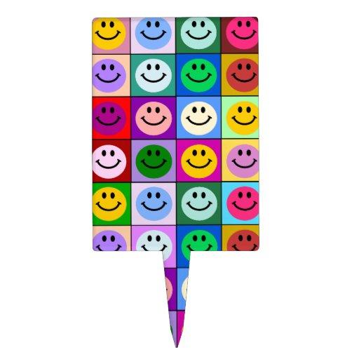 Cuadrados sonrientes de la cara del arco iris decoración de tarta