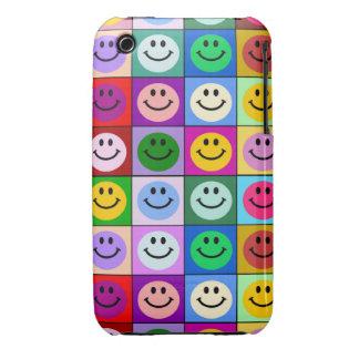 Cuadrados sonrientes de la cara del arco iris Case-Mate iPhone 3 protectores