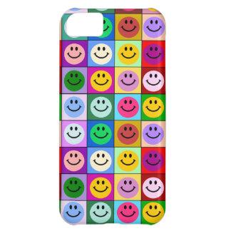 Cuadrados sonrientes de la cara del arco iris funda para iPhone 5C