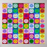Cuadrados sonrientes de la cara del arco iris impresiones