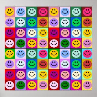 Cuadrados sonrientes de la cara del arco iris póster
