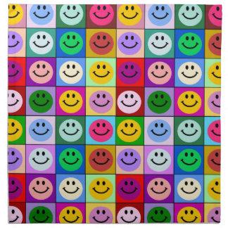 Cuadrados sonrientes de la cara del arco iris servilleta de papel