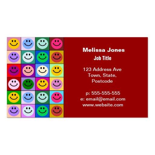 Cuadrados sonrientes de la cara del arco iris tarjeta de visita