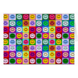 Cuadrados sonrientes de la cara del arco iris tarjeta de felicitación
