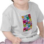 Cuadrados sonrientes multicolores camisetas