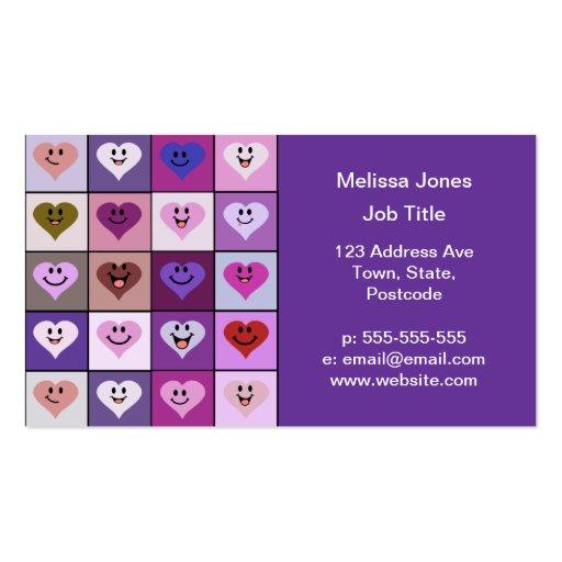 Cuadrados sonrientes rosados y púrpuras del corazó tarjetas de negocios