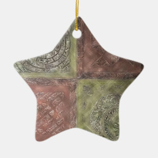 Cuadrados texturizados adorno navideño de cerámica en forma de estrella
