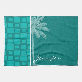 Cuadrados tropicales de la turquesa toalla de mano