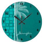 Cuadrados tropicales de la turquesa reloj